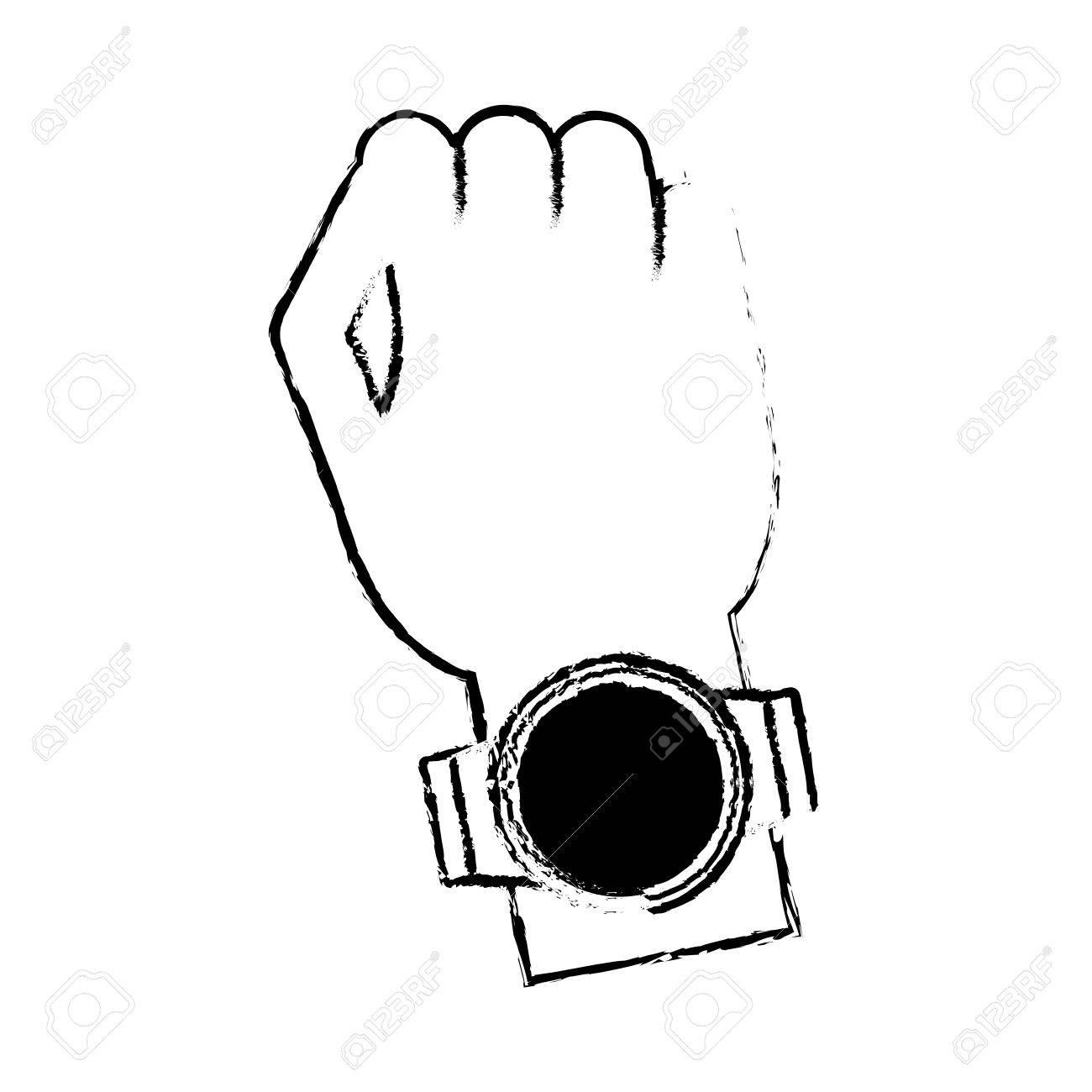 44eef1d7906 Foto de archivo mão digital relógio inteligente wearable tecnologia desenho  ilustração vetorial eps jpg 1300x1300 Relogio