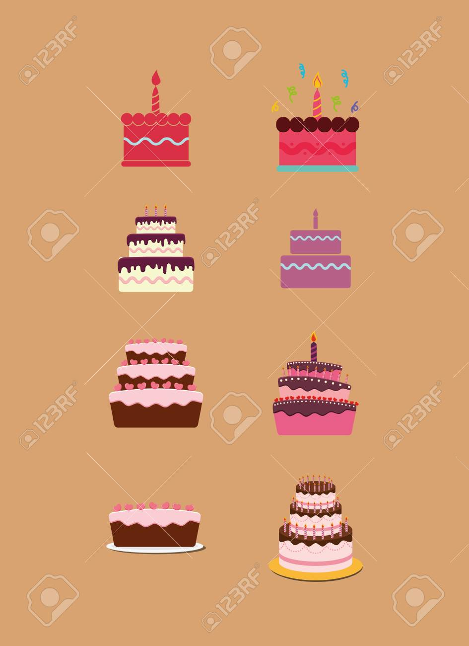 Groovy Happy Birthday Cakes Icon Vector Illustration Graphic Design Personalised Birthday Cards Vishlily Jamesorg