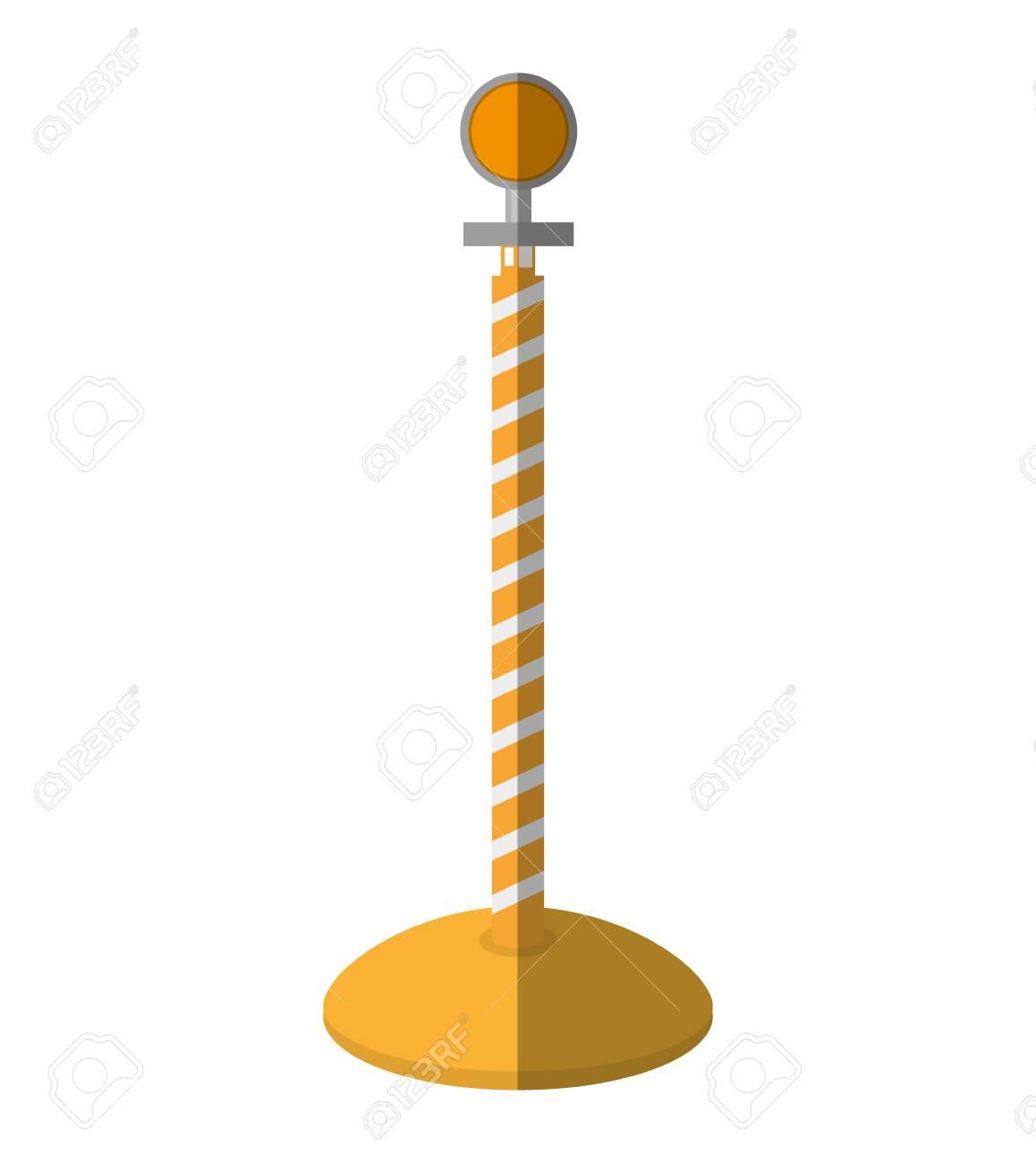 cartoon post warning light fence vector illustration eps 10