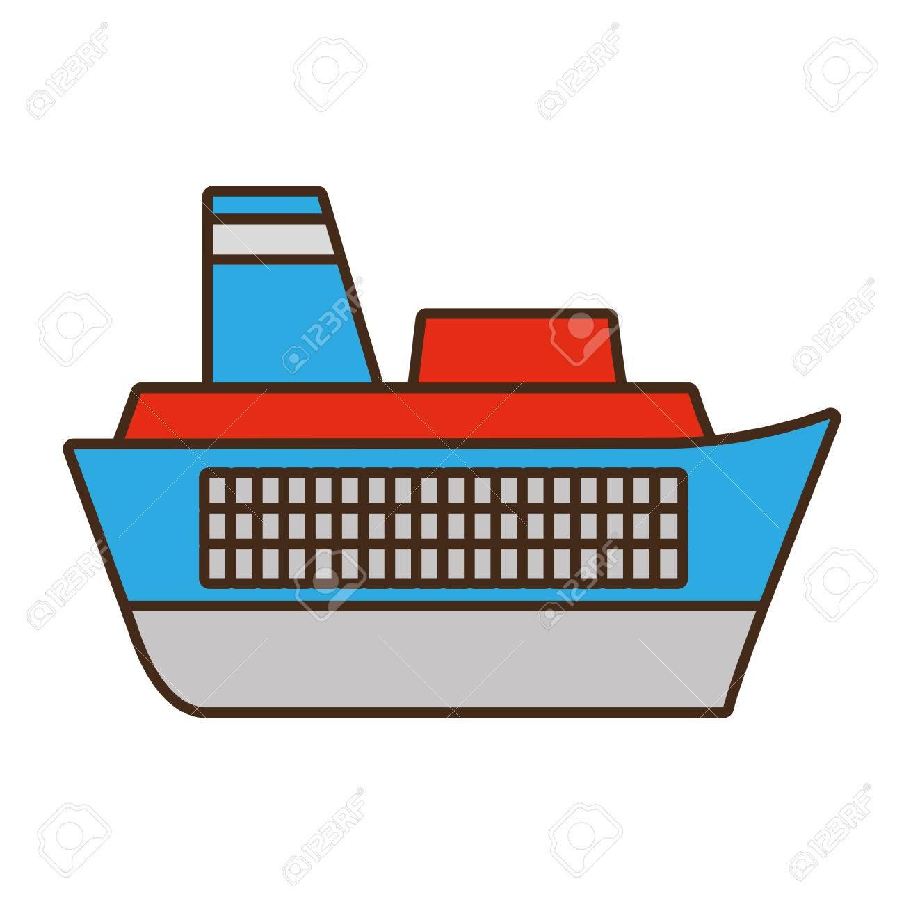 Caricatura Barco Viaje Marítimo Vector Ilustración Eps 10