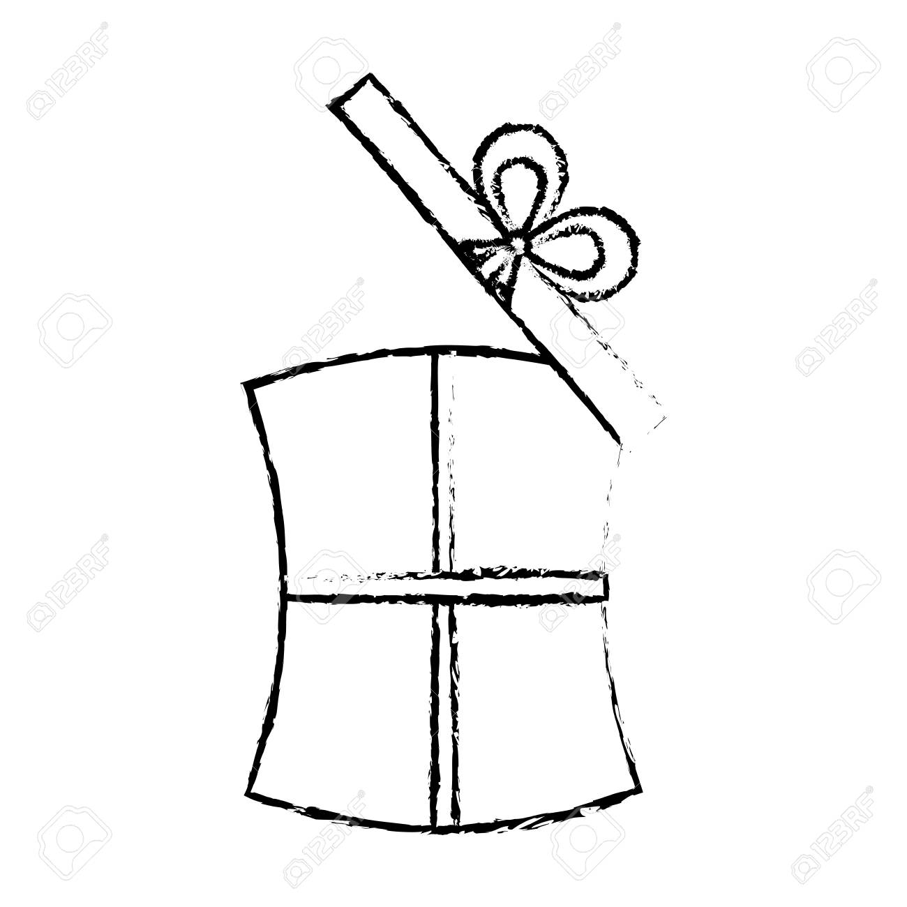 Open Gift Box Ribbon Wedding Present Sketch Vector Illustration Eps 10 Stock