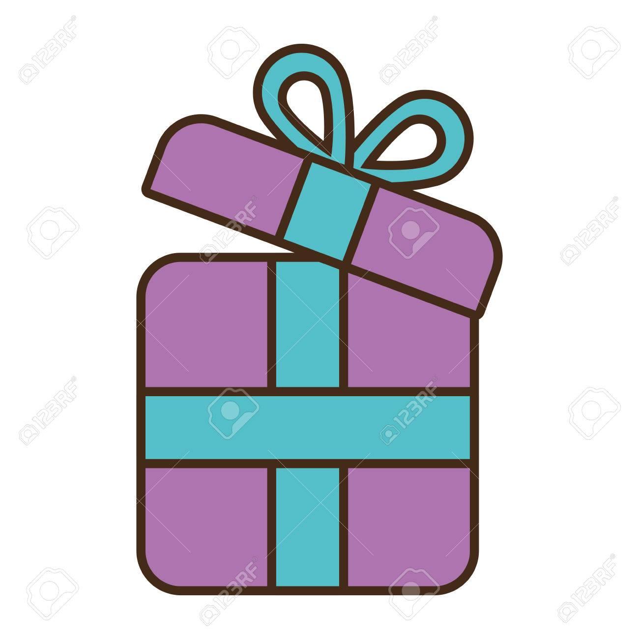Caja De Regalo Púrpura Envoltura De Cinta De Ilustración Vectorial