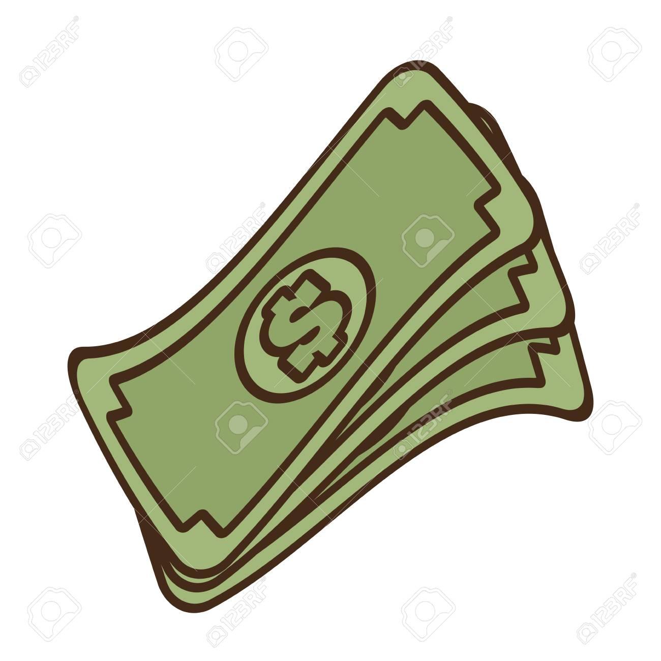 Dibujos Animados Pila Dinero Billetes Dólar Efectivo Ilustración Vectorial Eps 10
