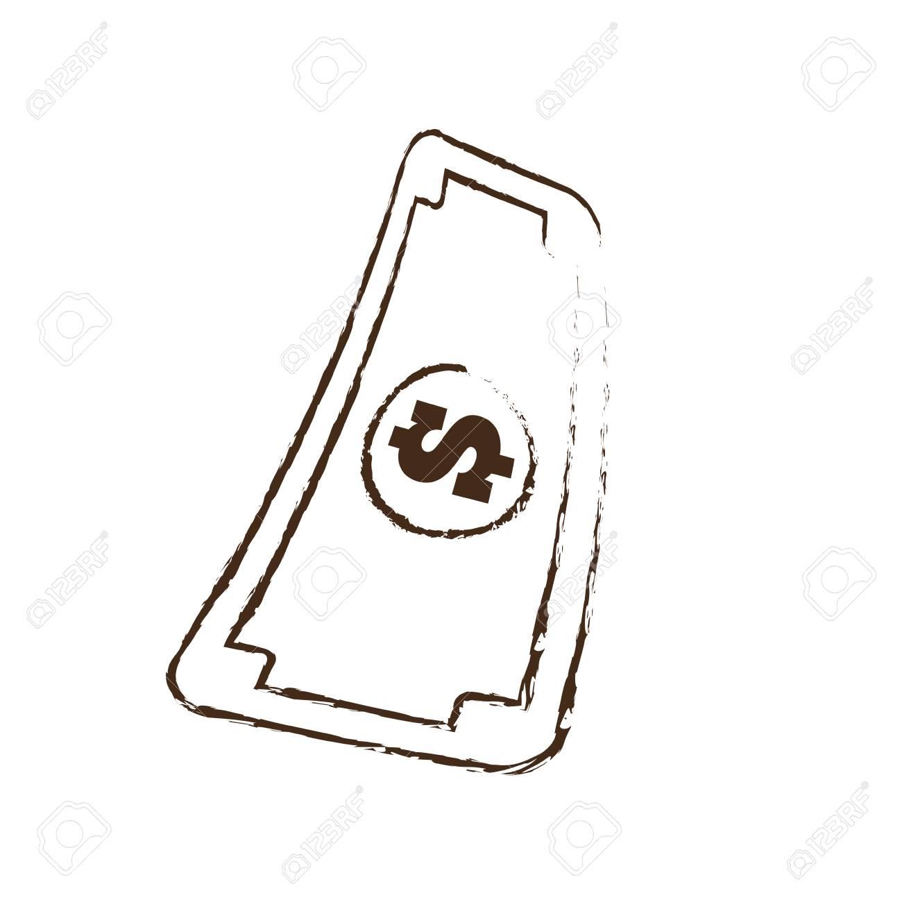 Skizze Zeichnen Rechnung Geld Währung Dollar Vektor Illustration Eps