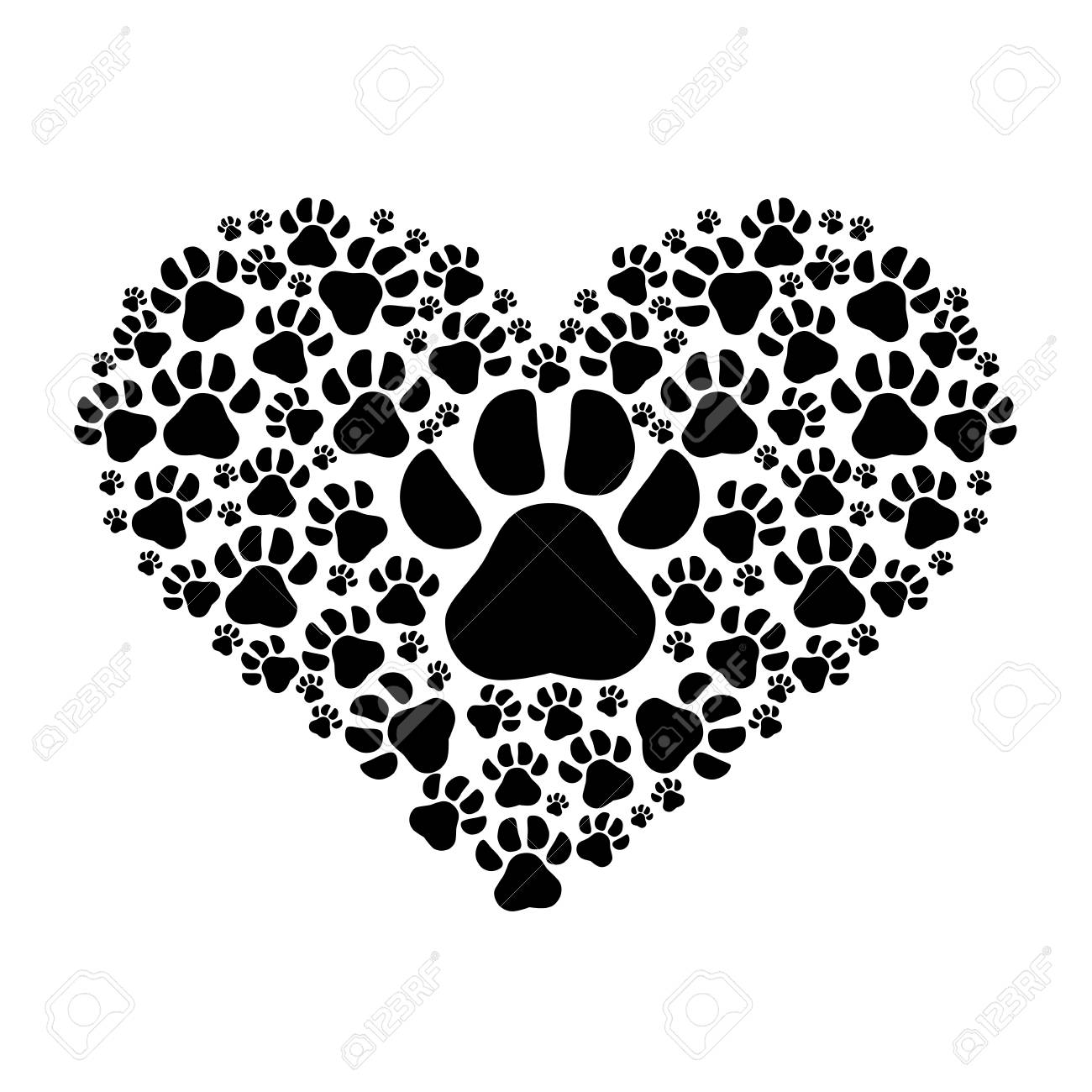 Huellas De Perro En Forma De Corazón Sobre Fondo Blanco Diseño Del