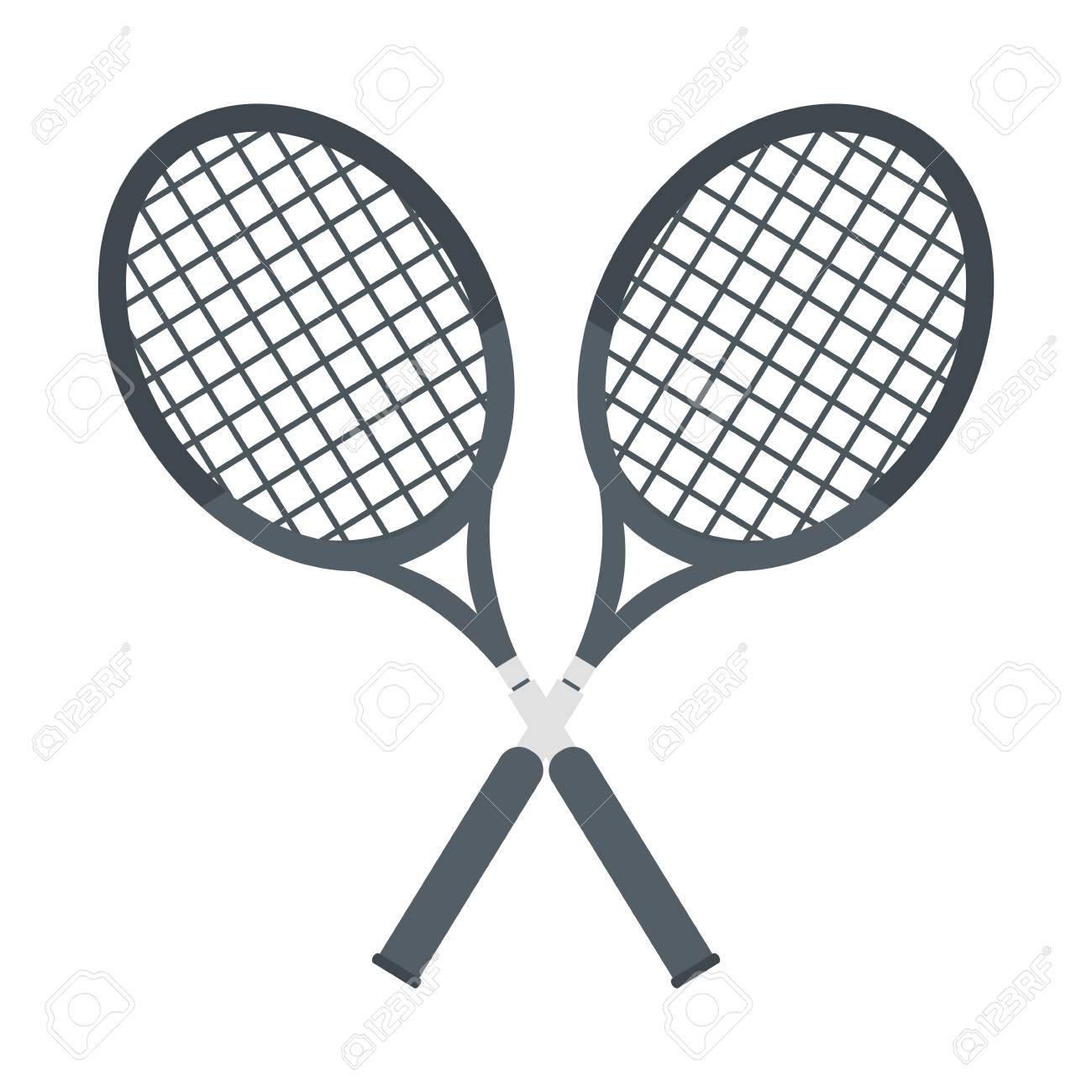 Two Racket Crossed Tennis Graphic Vector Illustration Royalty Free