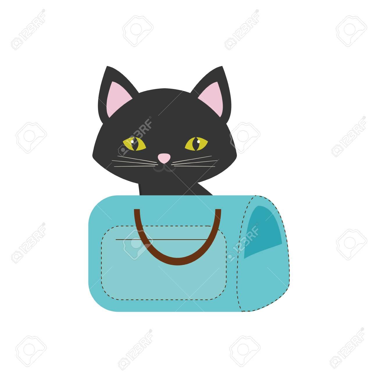 ピンク猫耳緑目青いペット キャリア バッグ旅行ベクトル イラスト Eps 10