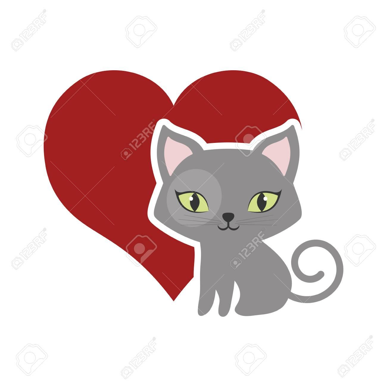 猫ふわふわ可愛い動物赤ハート ベクター イラスト Eps 10のイラスト素材