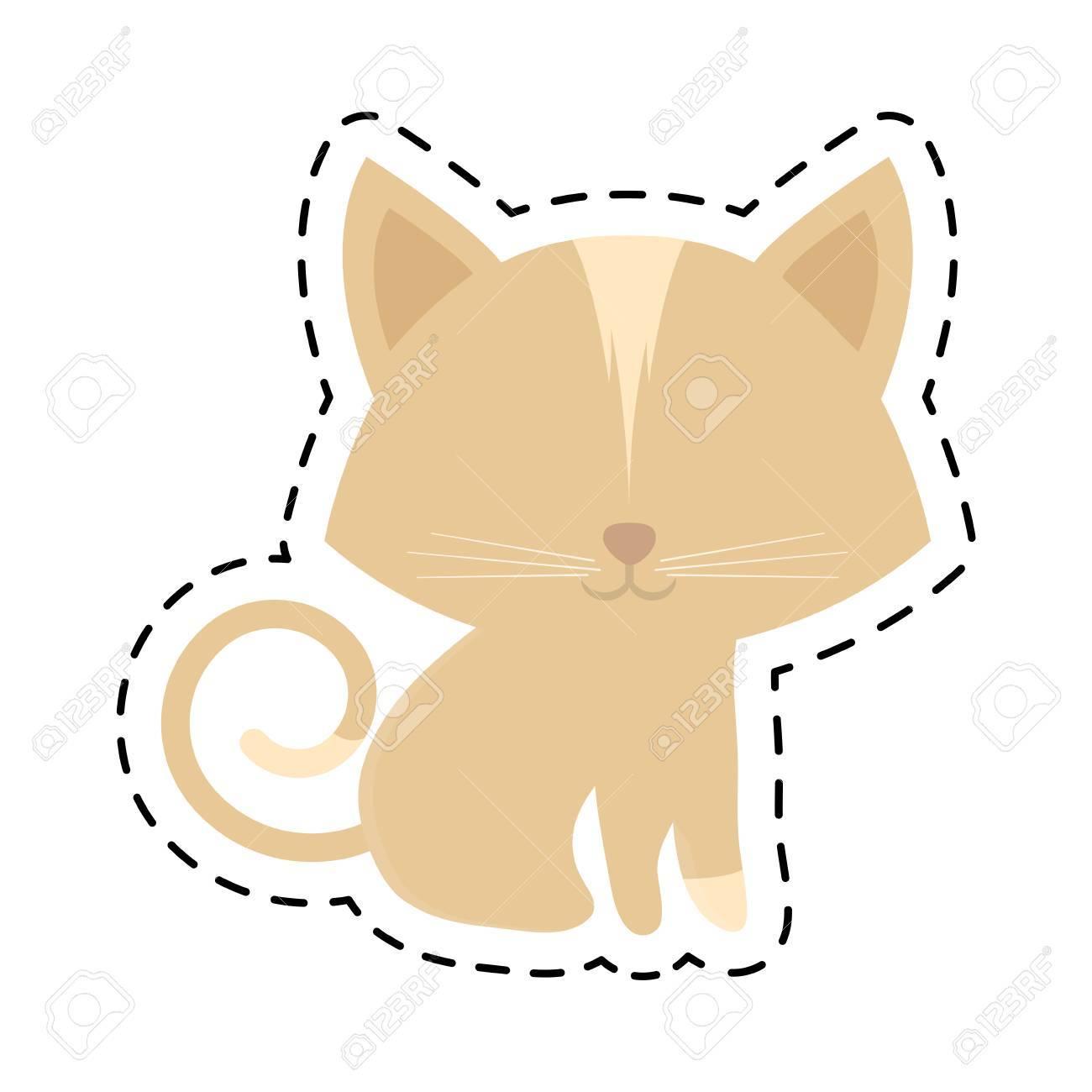 猫動物国内の毛皮のようなカット線ベクトル イラスト eps 10