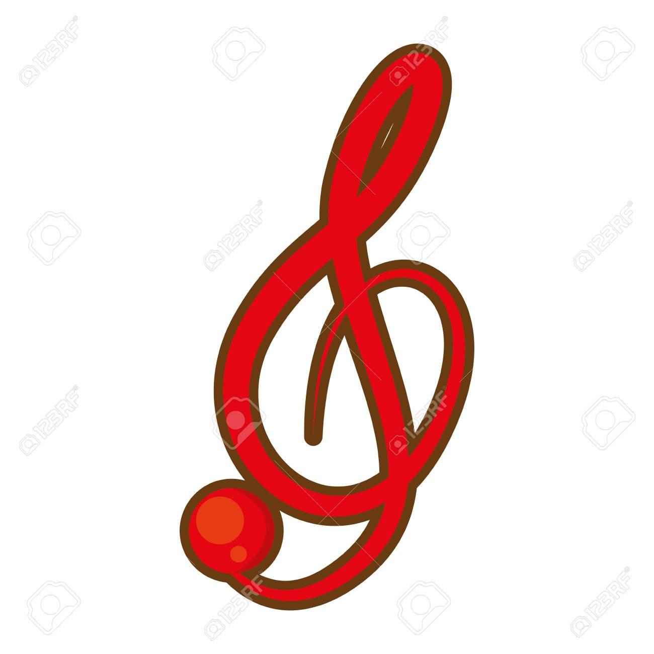 cartoon treble clef musical paper icon vector illustration eps rh 123rf com