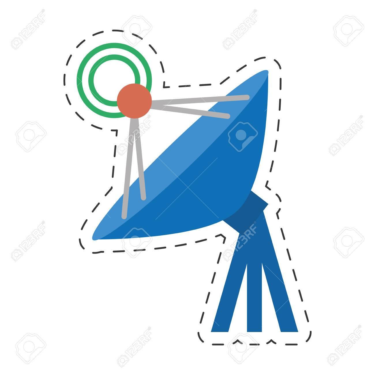 Antenna Dish Radar Technology Internet Vector Illustration Eps