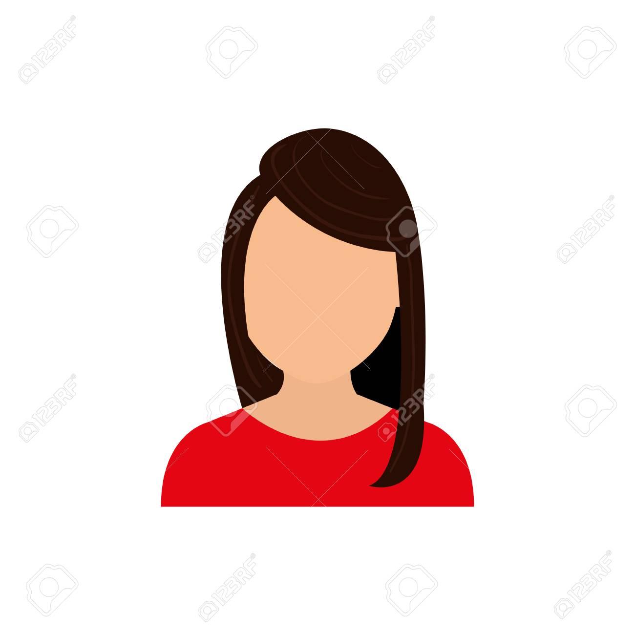 Femme Sans Visage Profil Icône Illustration De Conception Graphique