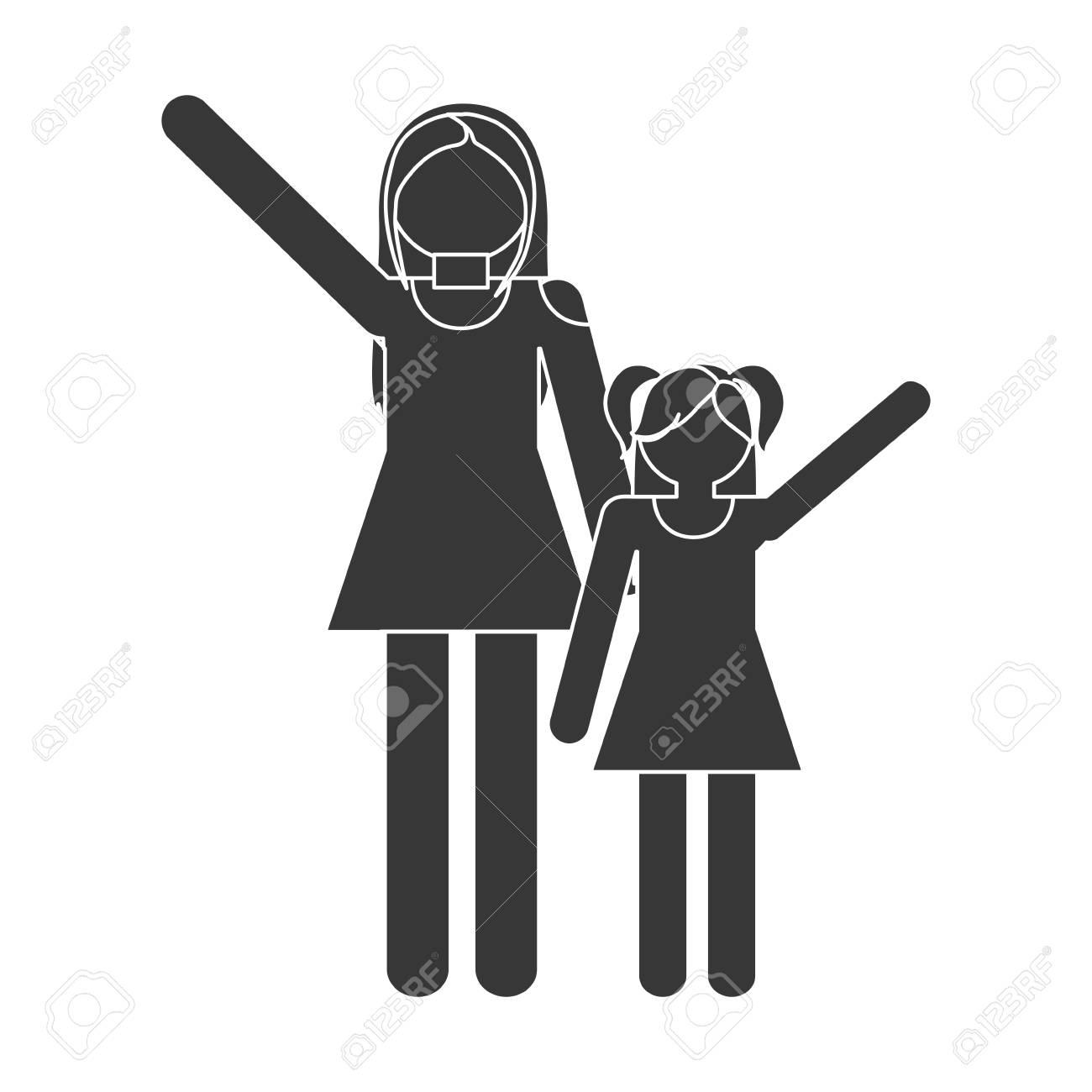Silueta Familia Madre E Hija Ilustración Vectorial Divertida Eps 10