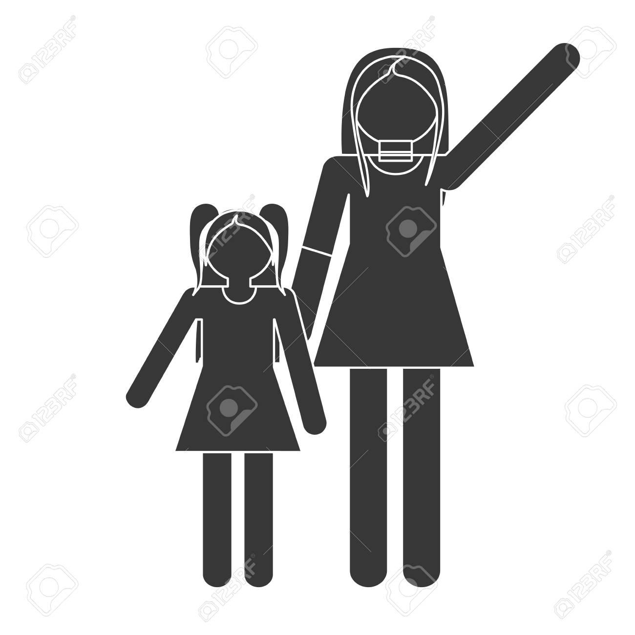 Silueta Madre E Hija Relación Familia Vector Ilustración Eps 10