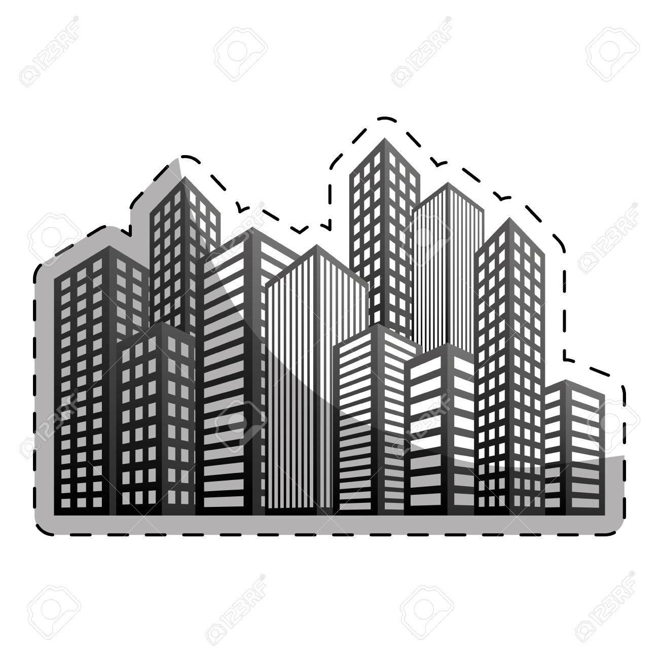 City Building Icon Image Line Sticker Vector Illustration Design Stock
