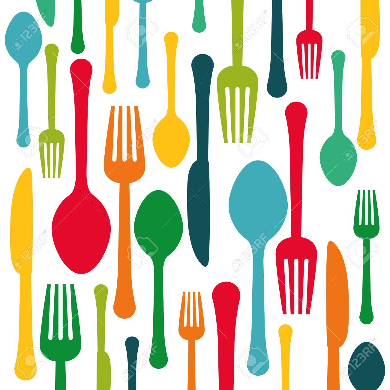 colorful kitchen utensils. Colorful Kitchen Utensils Background Icon Image, Vector Illustration Stock - 70352284 E