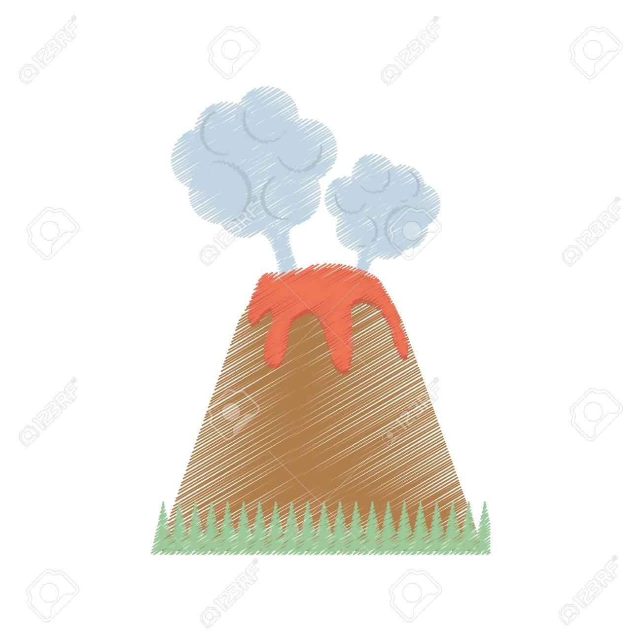Dibujo Volcán Erupción Lava Montaña Nube Ilustración Vectorial Eps