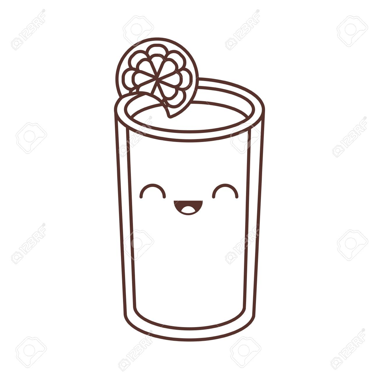 glass cup juice lemonade fresh vector illustration