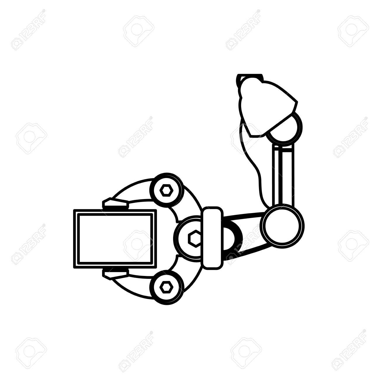 Robotic Arm Technology Icon Vector Illustration Graphic Design