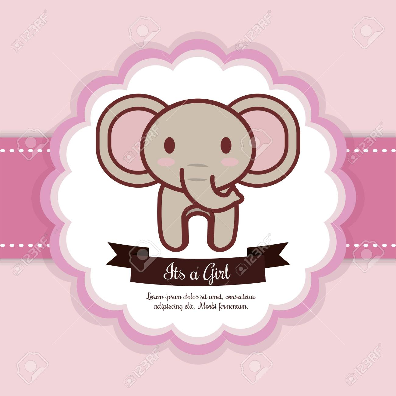 Baby Shower Invitation With Elephant Icon Colorful Design Vector