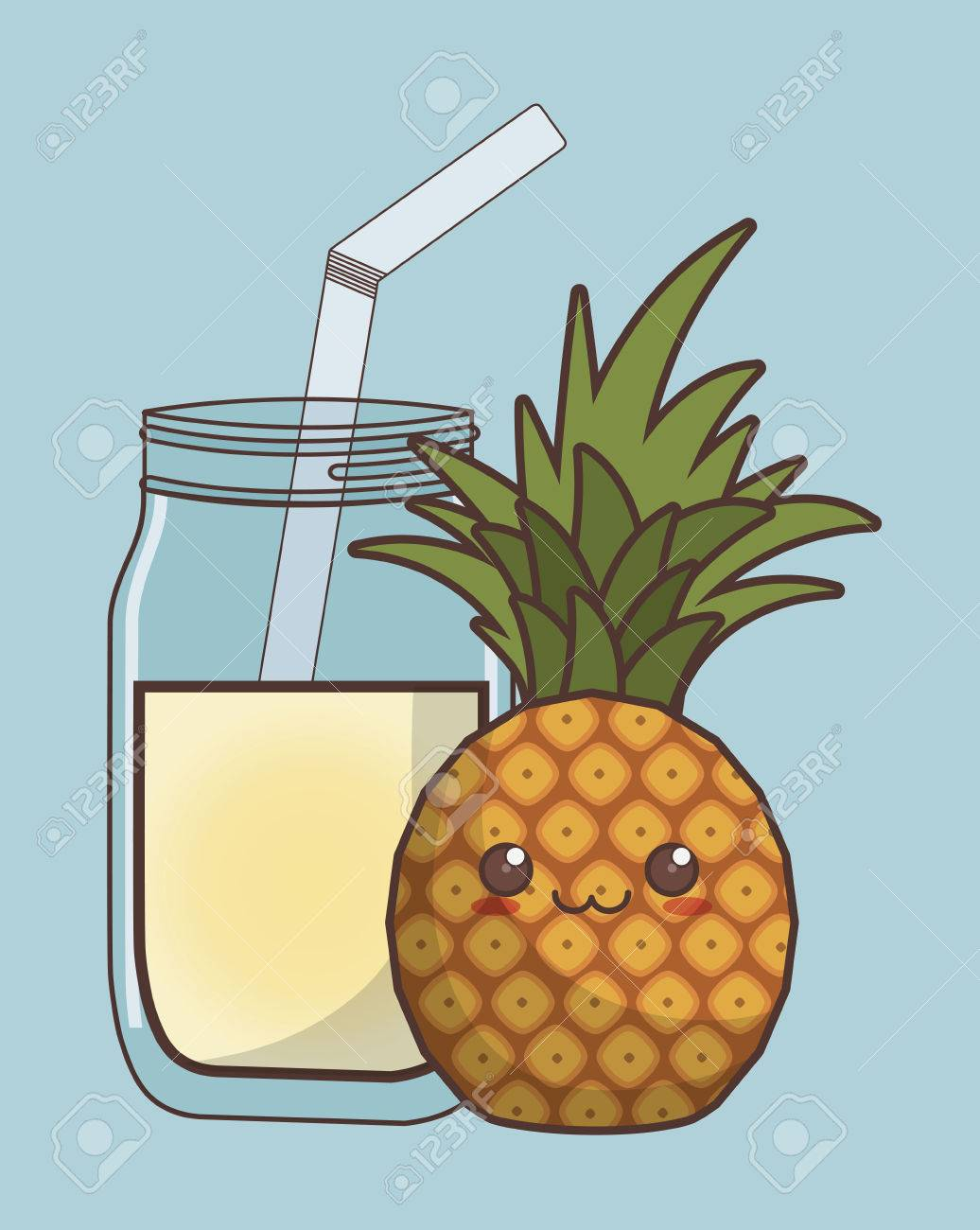 Kawaii Pineapple Fruit And Glass Of Juice Over Blue Background
