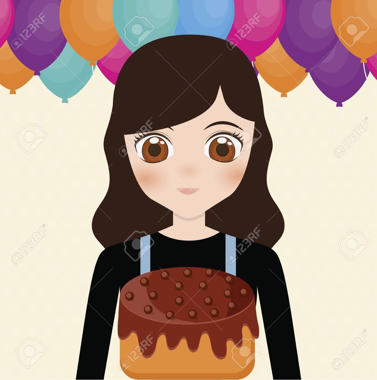 cd7cb78be Foto de archivo - Tarjeta de feliz cumpleaños con chica anime y pastel.  diseño colorido. ilustración vectorial