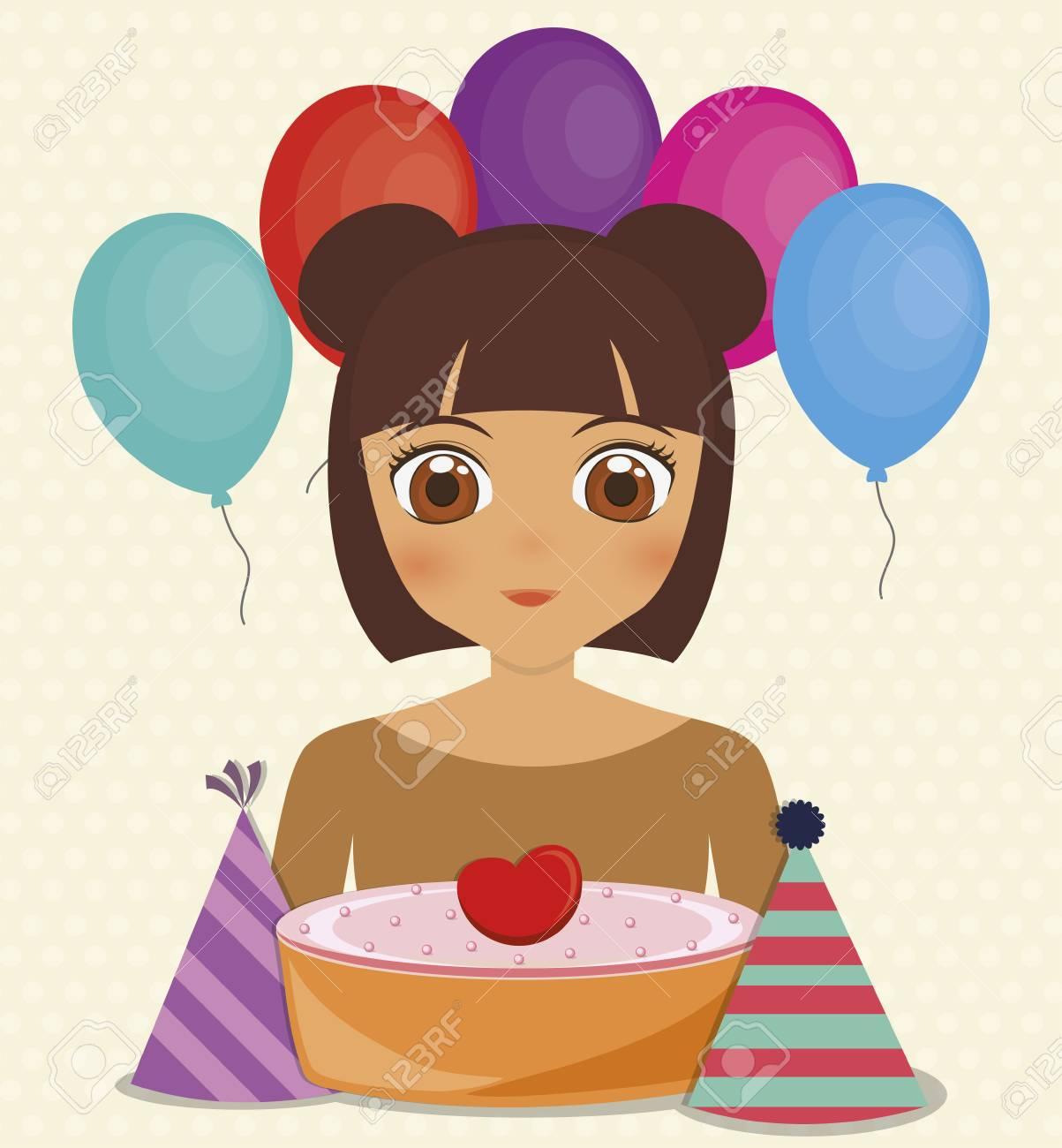 663a961a5 Foto de archivo - Tarjeta de feliz cumpleaños con chica anime y pastel.  diseño colorido. ilustración vectorial