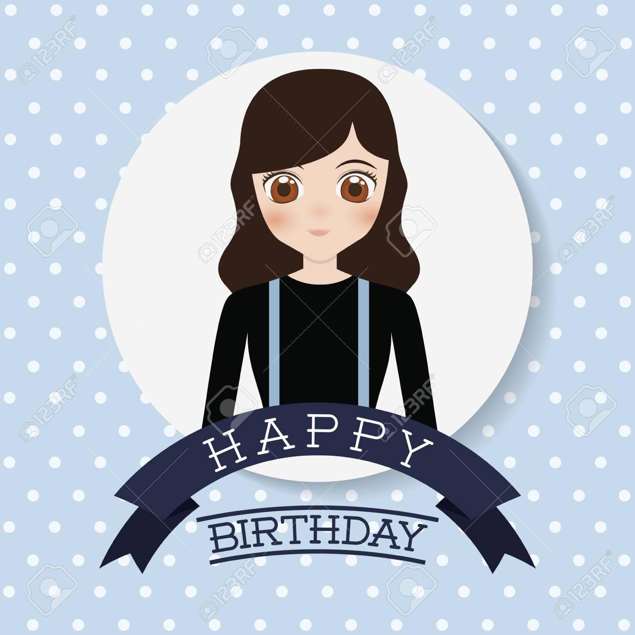 ccb62cd9e Foto de archivo - Tarjeta de feliz cumpleaños con el icono de chica anime.  diseño colorido. ilustración vectorial