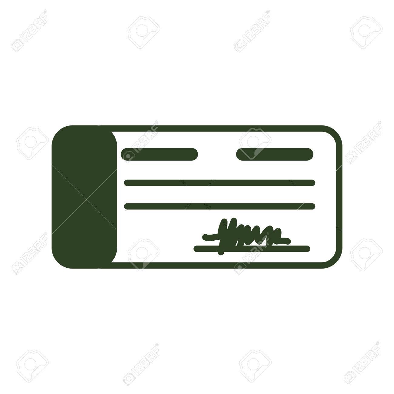 Bank Check Money Icon Vector Illustration Graphic Design Royalty