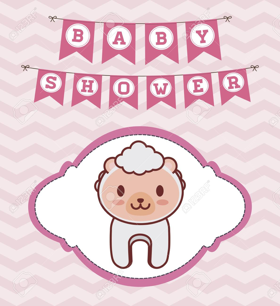 Baby Shower Invitation With Sheep Icon. Colorful Design. Vector ...