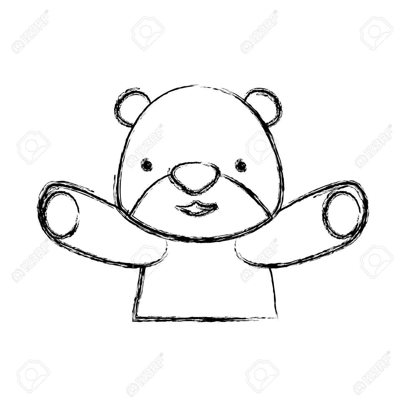 Ourson Dessin Anime Infantile Vecteur Icone Illustration Clip Art