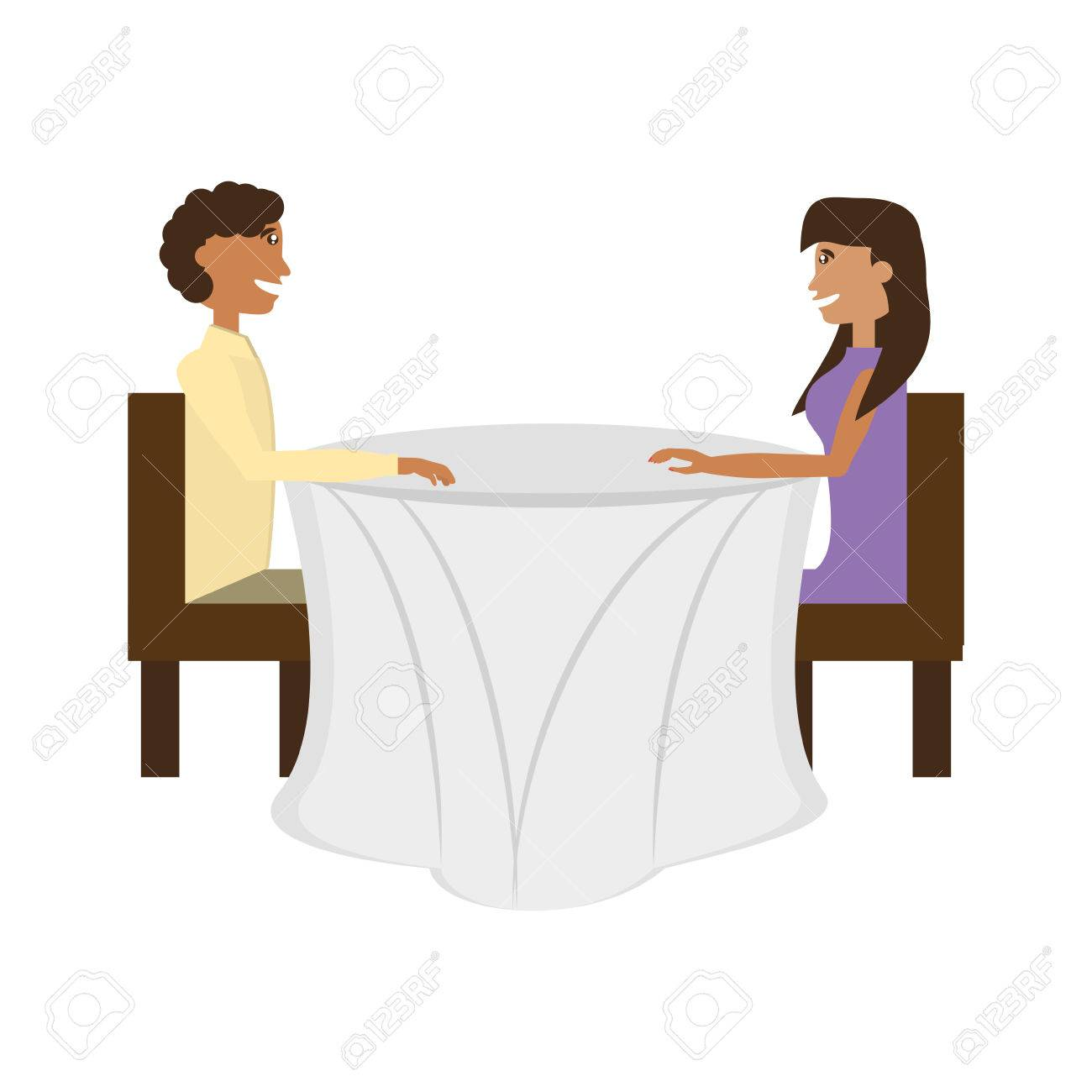 座ってロマンチックなデートのカップル ベクトル イラスト eps 10