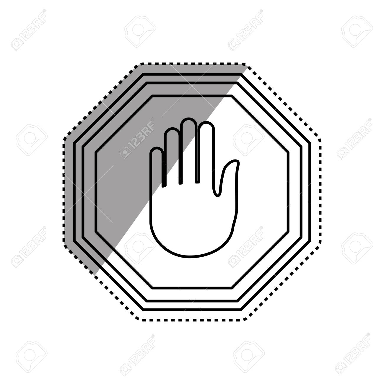Stop Sign Hand Vector Icon Illustration Clipart Royalty Free