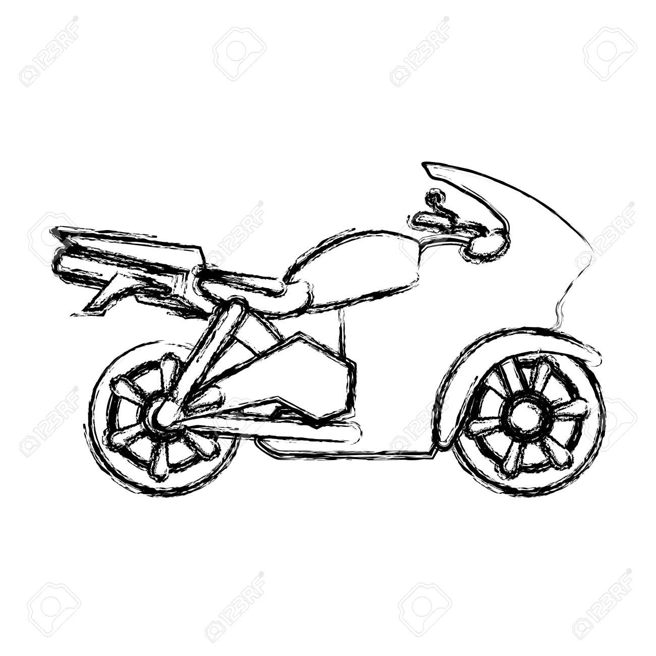 Racing Motorcycle Silhouette Icon Vector Illustration Graphic