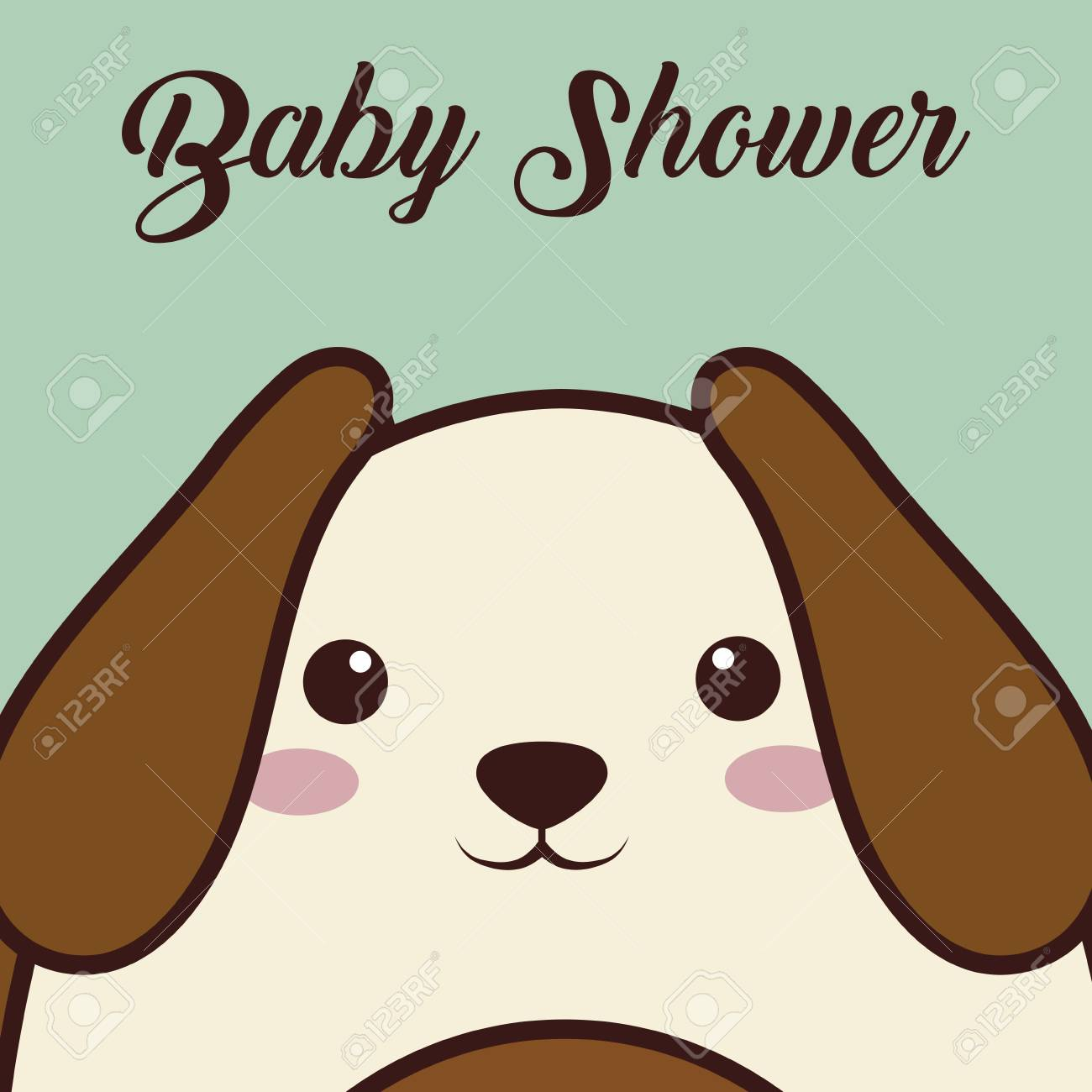 Decoracion De Baby Shower De Animales.Baby Shower Card With Dog Animal Icon Over Blue Background