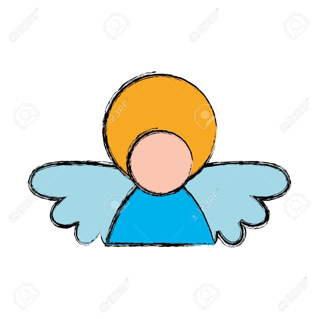神聖な精神的な天使のアイコン ベクトル イラスト グラフィック デザイン