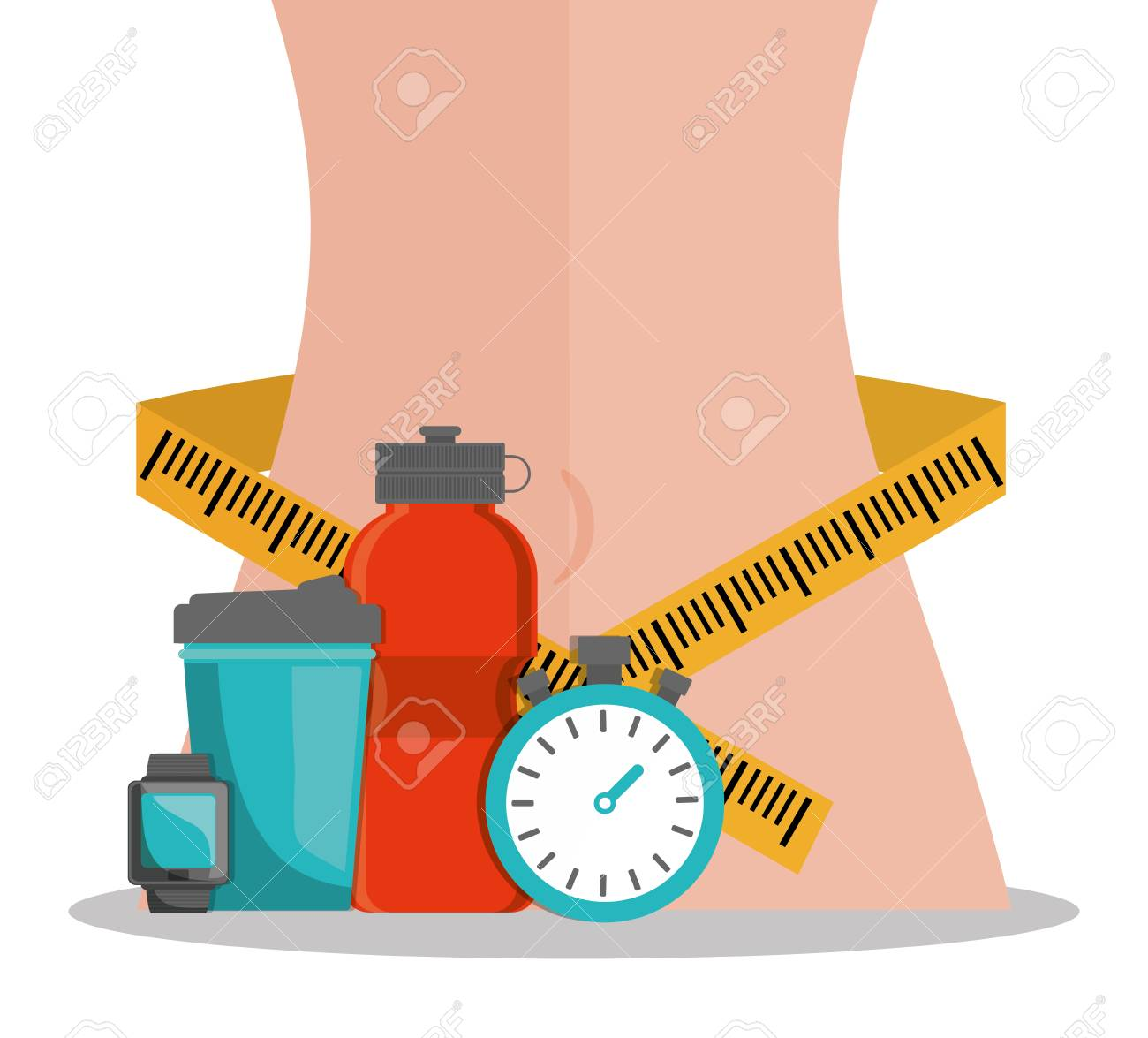 Lose Weight Body Wrapped Measuring Tape Diet Vector Illustration Diagram Stock 75437250