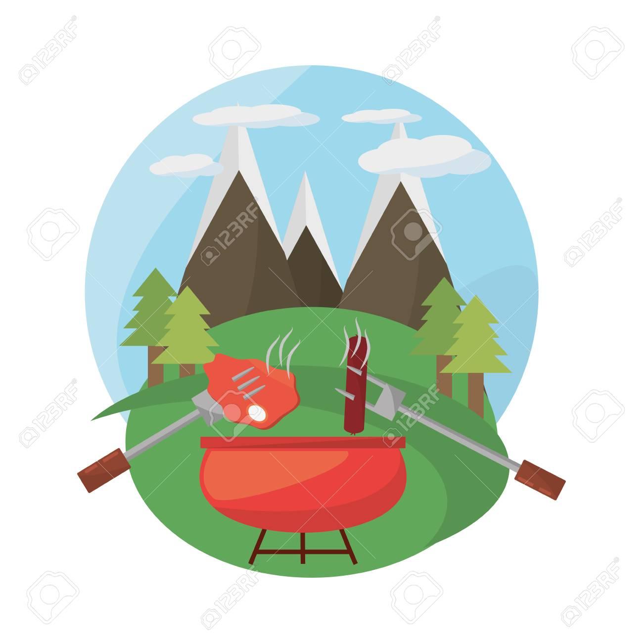 グリル バーベキュー食事山風景ベクトル イラスト Eps 10のイラスト素材