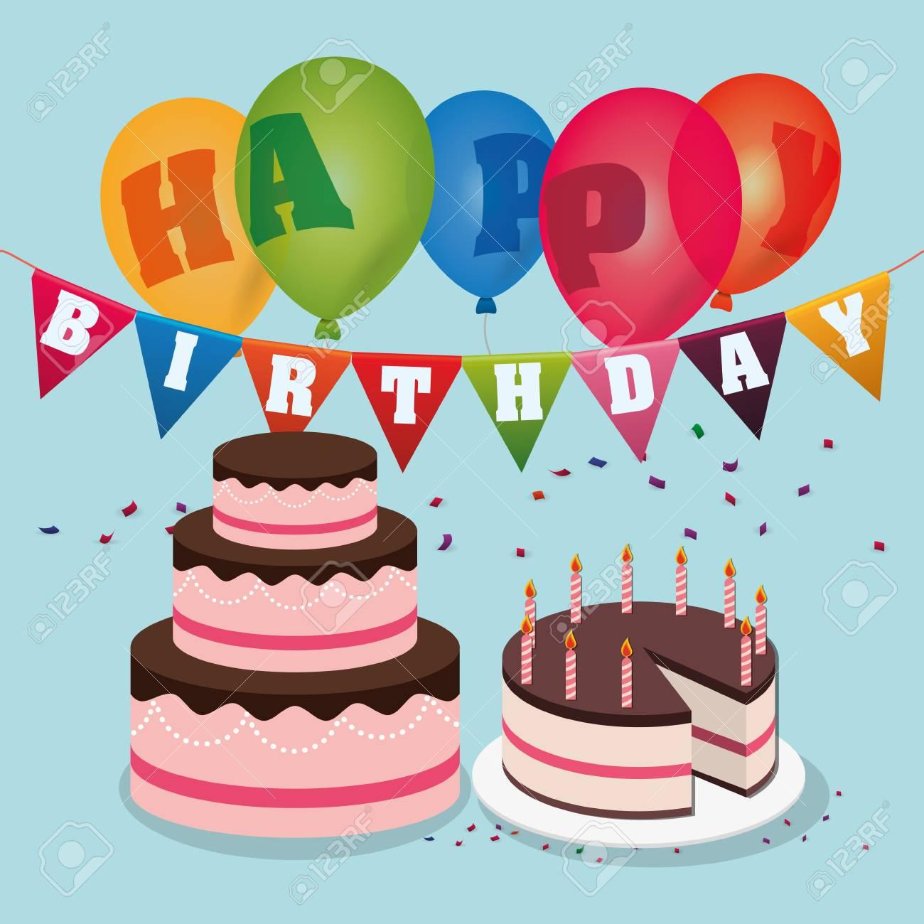 Happy Birthday Cakes Balloons Garland Confetti Stock Vector