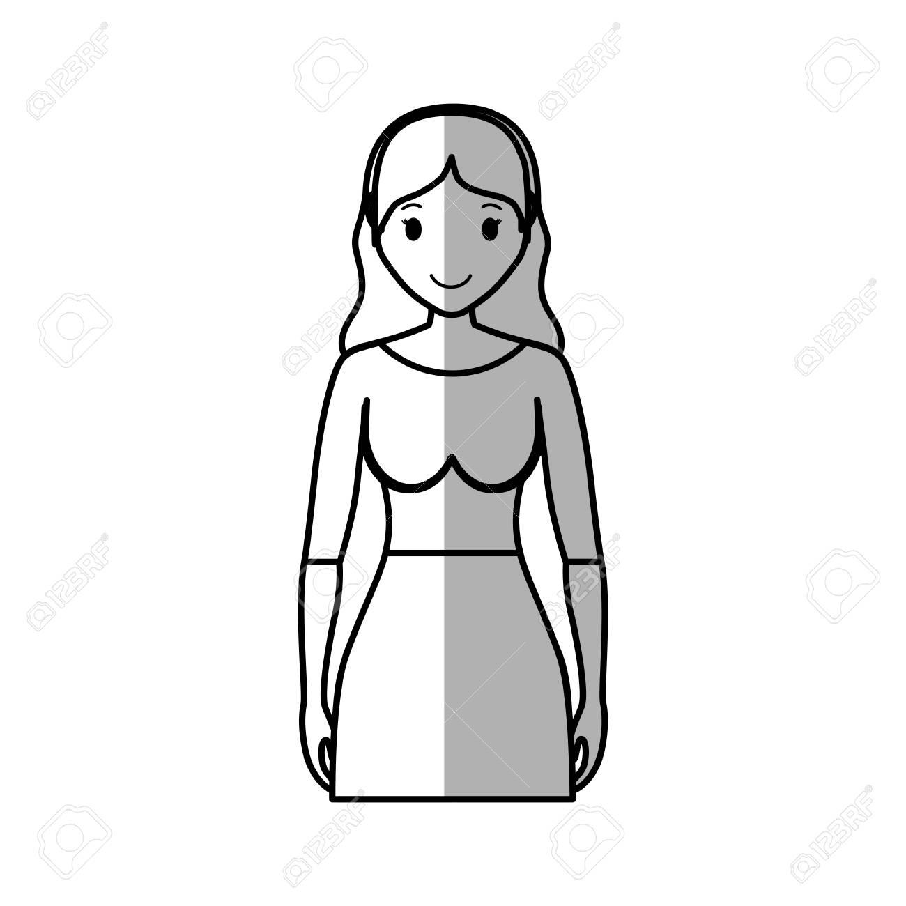 d7805a341 Foto de archivo - Mujer vestida con ropa casual icono de dibujos animados  sobre fondo blanco. ilustración vectorial
