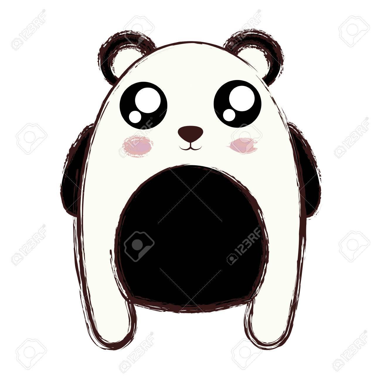 kawaii panda bear animal icon over white background colorful