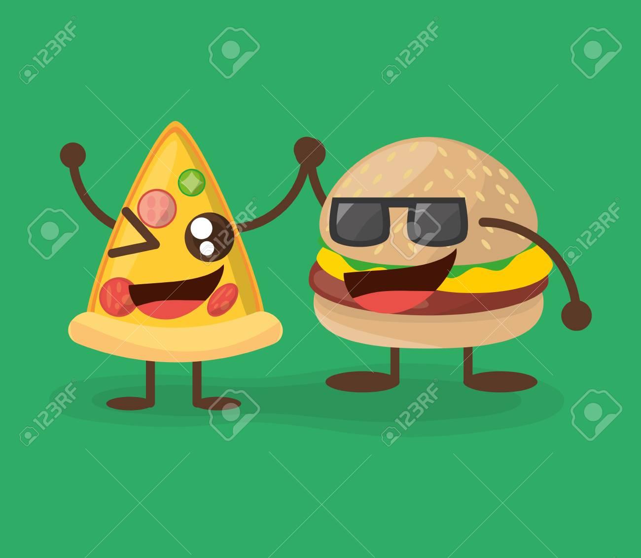 かわいいハンバーガーとピザ文字食品ベクトル イラスト Eps 10のイラスト