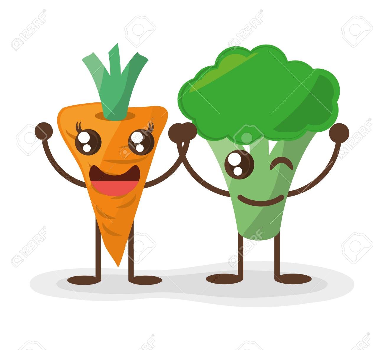 kawaii carrot and broccoli fun food vector illustration eps 10 rh 123rf com food vector background png image food vector background
