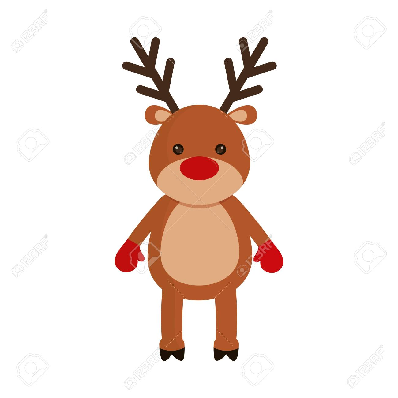 rudolph deer cartoon icon over white background colorful design