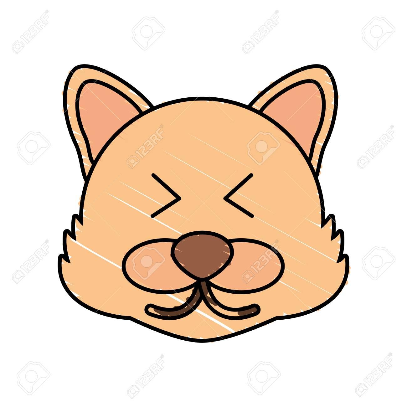 Cute Wolf Drawing Animal Vector Illustration