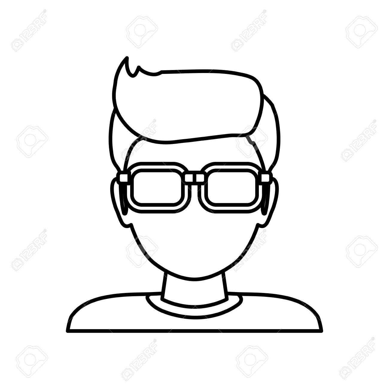 man faceless glasses avatar icon illustration royalty free cliparts