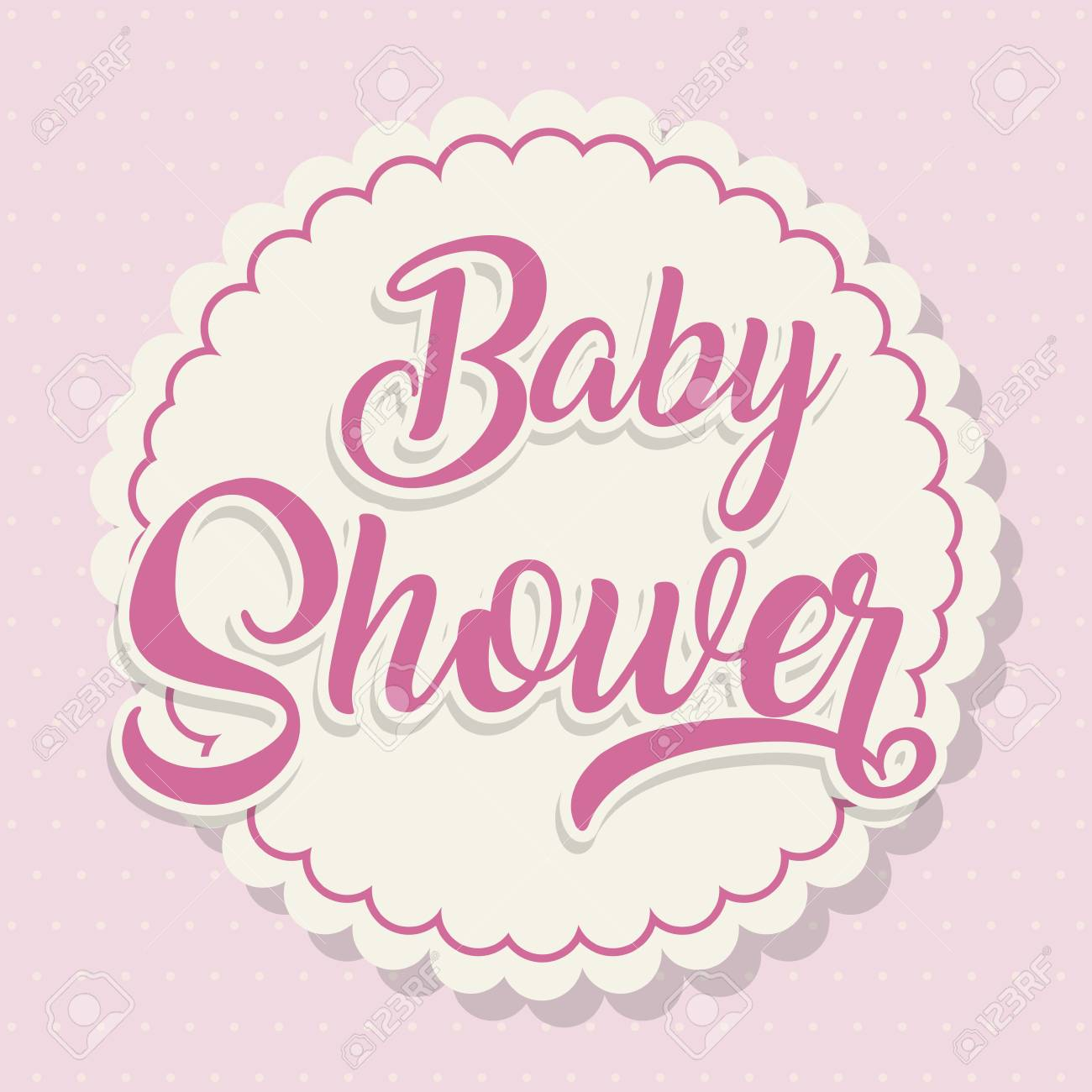 Baby shower card over pink background. colorful design. vector illustration  Stock Vector - 76536716