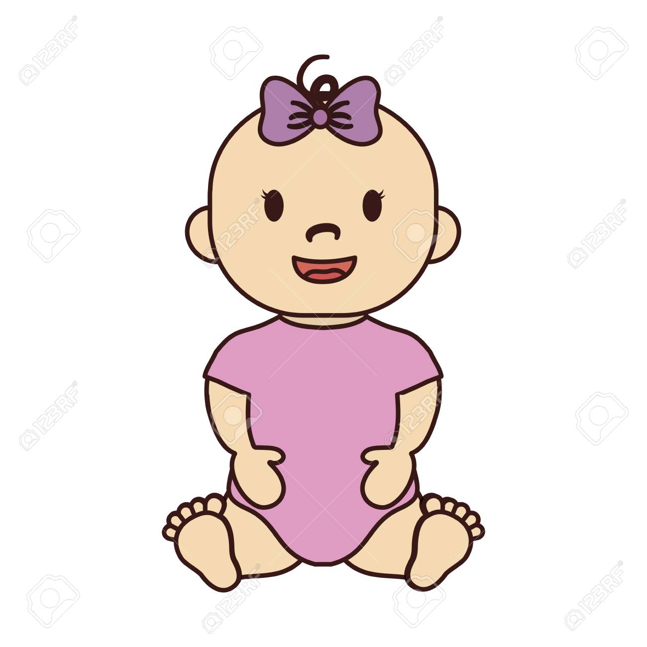 124ab220b663 Cute Baby Girl With Pink Bow