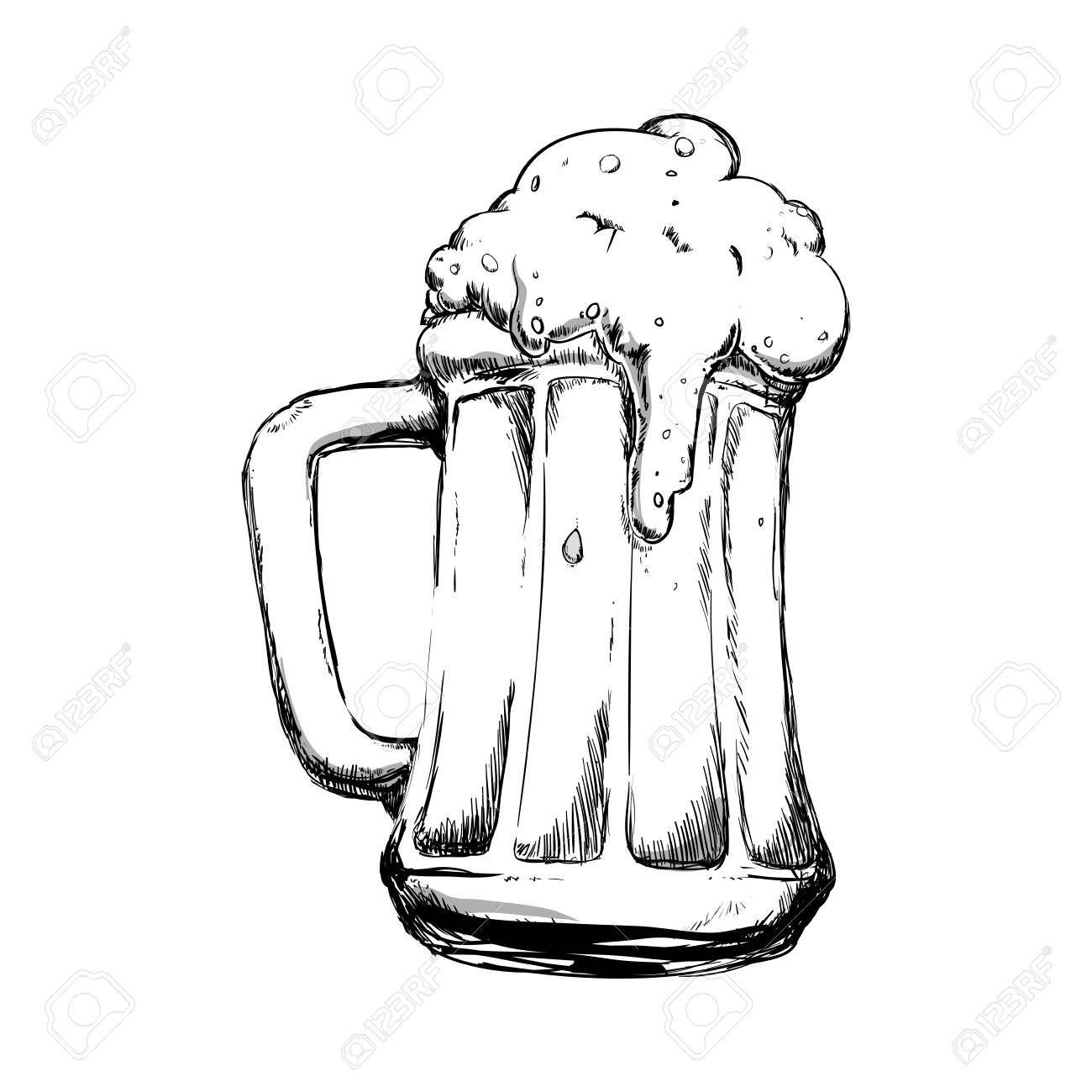Delicious Beer Draw Icon Vector Illustration Graphic Design Royalty