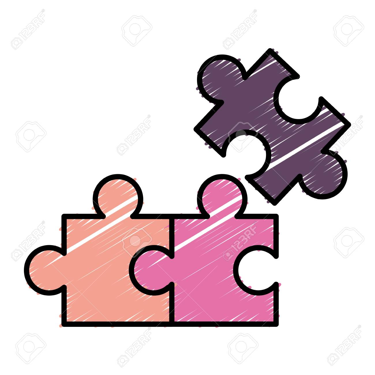 Jigsaw Puzzles Icon Over White Background Vector Illustration Stock